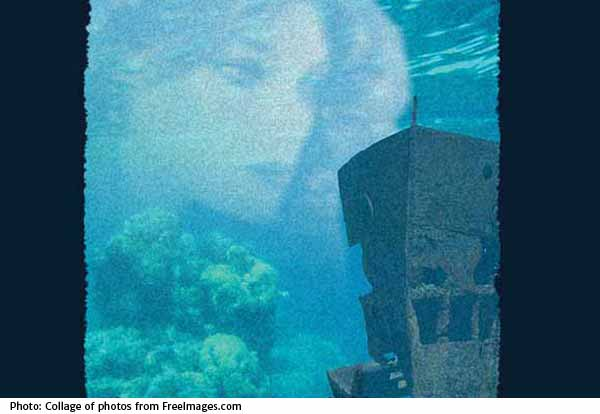 Image of sunken ship and ghost lay