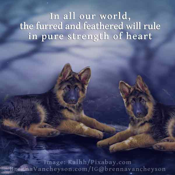 In all our world/the furred and feathered will rule/in pure strength of heart
